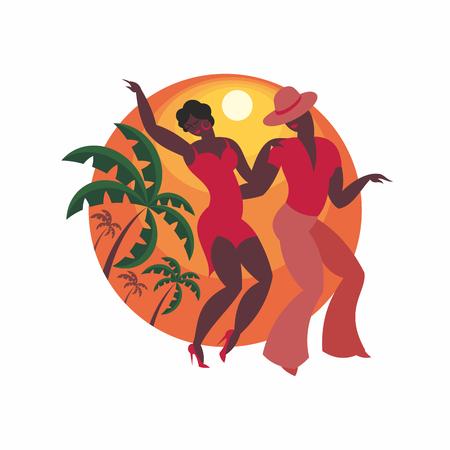lady and gentleman dance Latin America salsa Ilustracja