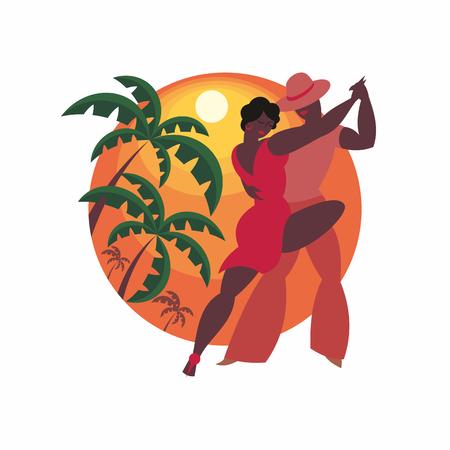 lady and gentleman dance Latin America salsa Illustration