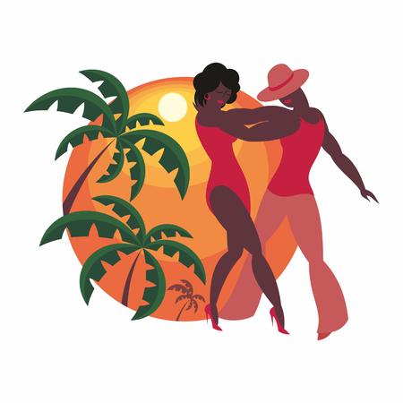 숙녀와 신사 댄스 라틴 아메리카 살사 일러스트