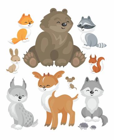 lince rojo: La imagen de lindos animales del bosque en estilo de dibujos animados. Ilustración infantil Conjunto de vectores.