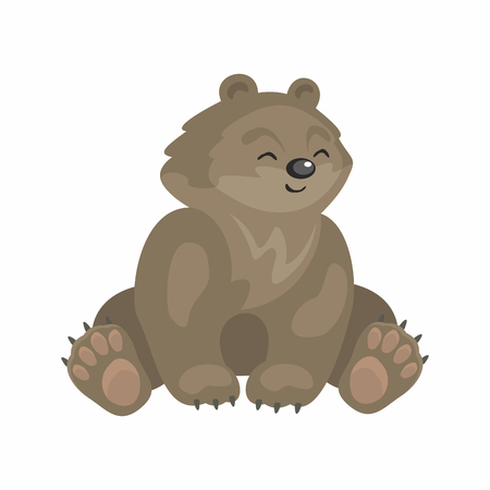 The image of cute bear in cartoon style. Vector childrens illustration. Illustration