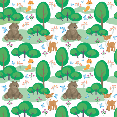 Baby bear in a colorful seamless pattern with the image of  cute woodland animals. Vector background.