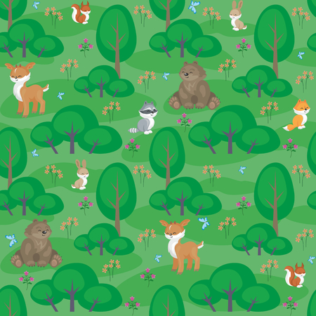 Baby colorful seamless pattern with the image of a cute woodland animals.