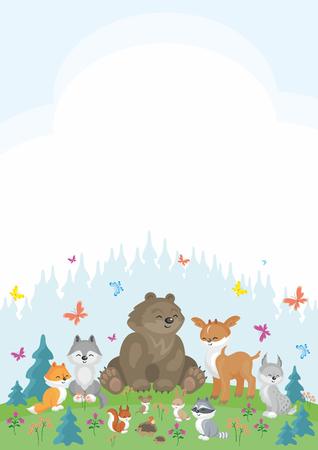 Baby bunten Hintergrund mit dem Bild von einem niedlichen Wald Tiere. Vektor-Illustration.