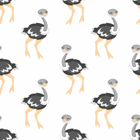 Childrens seamless pattern with the image of cute African animals in cartoon style. Vector background. Illustration