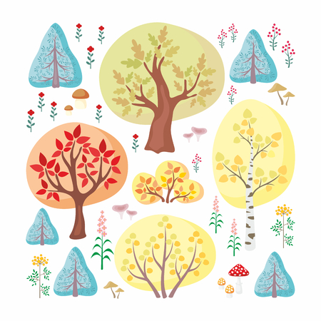 The autumn hand drawn design of woods, trees, plants and mushrooms in cartoon style isolated on white background. Vector set.