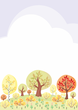 The autumn woods. Trees and plants in cartoon style. Vector decorative frame. Illustration
