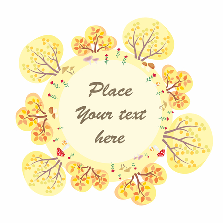 The autumn woods. Trees, plants and mushrooms in cartoon style. Vector decorative frame.