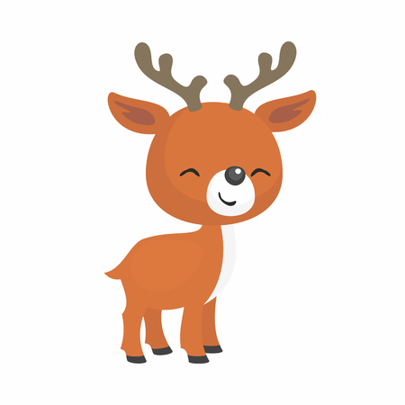 The image of a cute little fawn in a cartoon style. Vector childrens illustration.