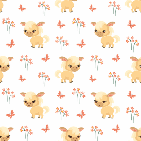 Vector colorful seamless pattern with the image of farm animals in cartoon style. Stok Fotoğraf - 85312372