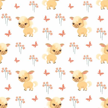 Vector colorido de patrones sin fisuras con la imagen de animales de granja en estilo de dibujos animados. Foto de archivo - 85312372