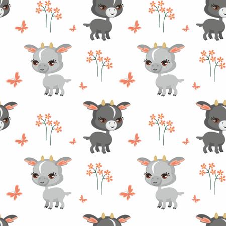 만화 스타일의 농장 동물의 이미지와 벡터 다채로운 원활한 패턴. 일러스트
