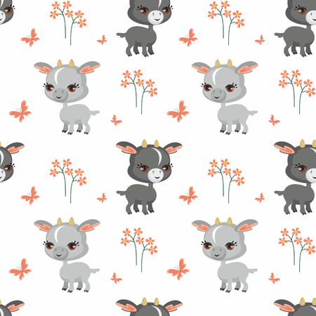 Vector colorido de patrones sin fisuras con la imagen de animales de granja en estilo de dibujos animados. Foto de archivo - 85312377