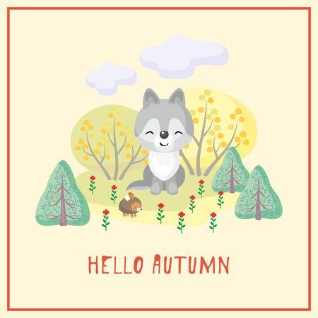 Hello autumn illustration.
