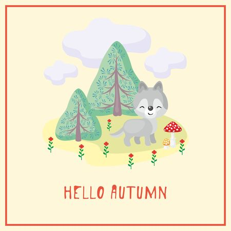 Hello autumn greeting card with the image of cute forest. Childrens illustration.
