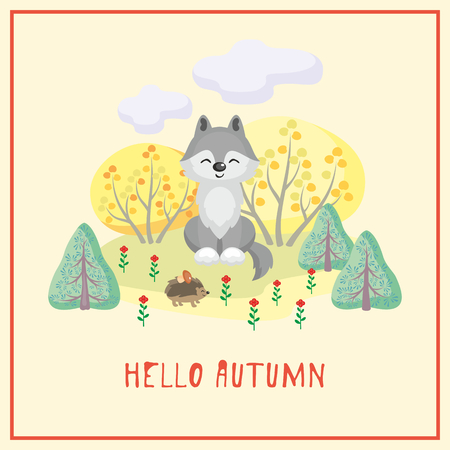 Hello autumn. Greeting card with the image of cute forest. Childrens illustration.