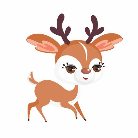 The image of a cute little deer in a cartoon style. Vector childrens illustration.