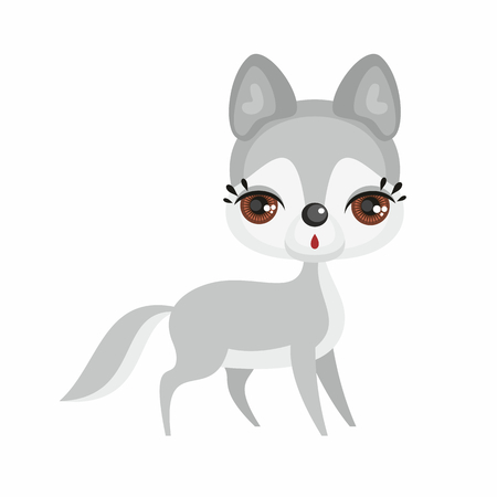 The image of a cute little wolf in a cartoon style. Vector childrens illustration.