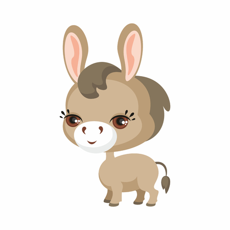 The image of cute burro in cartoon style. Vector childrens illustration.