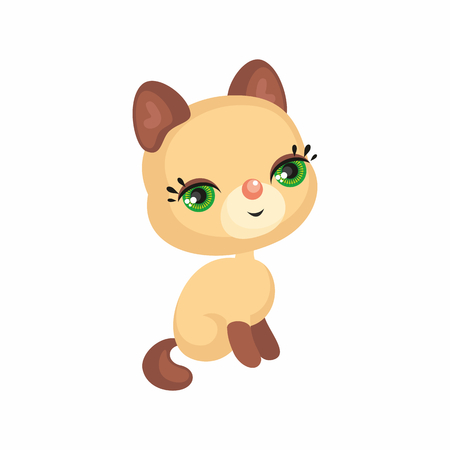 The image of a cute cat in a cartoon style. Vector childrens illustration.