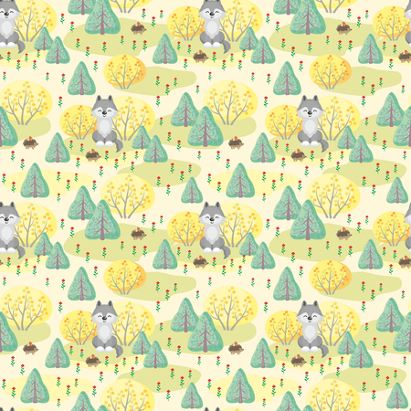 Baby colorful seamless pattern with the image of cute woodland. Vector background.
