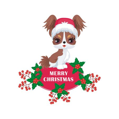 Vector image of a cute purebred dogs in a cartoon style. Childrens Christmas illustration Illustration