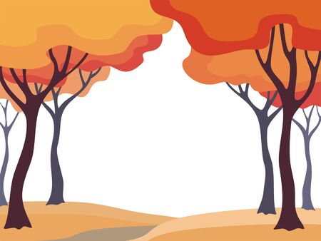 Abstract image of the autumn trees. Beautiful landscape. Vector background for design presentations, brochures, web sites and banners. Ilustração