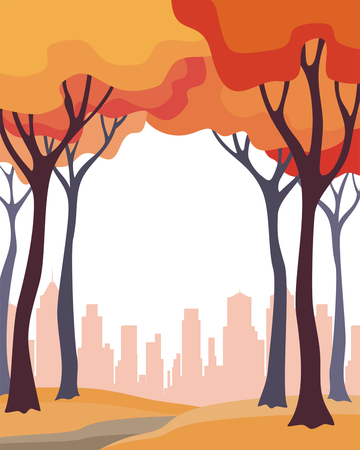 Abstract image of the autumn trees and city. Beautiful landscape. Vector background for design presentations, brochures, web sites and banners. Ilustração