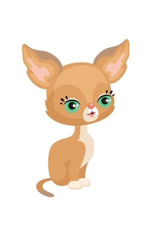 Vector image of a cute purebred kitten in a cartoon style. Childrens illustration.