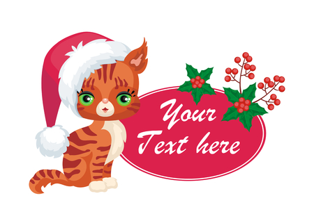 Vector image of a cute purebred kitten in a cartoon style. Childrens Christmas illustration. Illustration