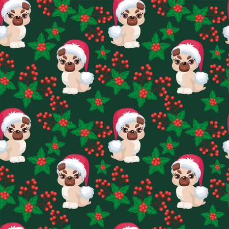 Christmas seamless pattern with the image of little cute puppies in the hat of Santa Claus. Childrens vector background.