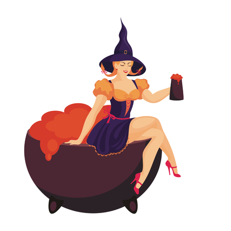 Beautiful young woman in a witch costume holding a mug of beer