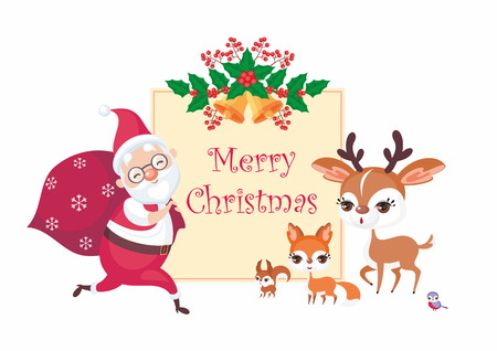 Christmas greeting card with the image of Santa Claus and woodland animals. Vector background. Illustration