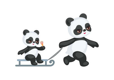 The image of a cute Panda in a cartoon style. Children vector illustration on white background. Illustration
