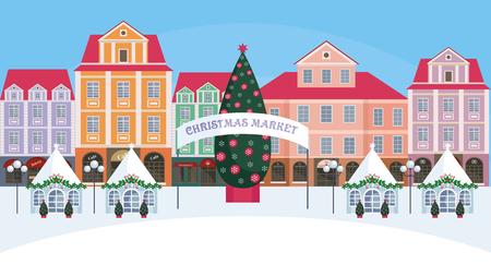 旧市街のクリスマス フェア。ベクトルの背景。 写真素材 - 89025694