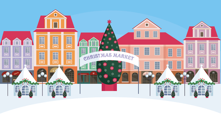 Christmas fair in the old town. Vector background. Stock Illustratie