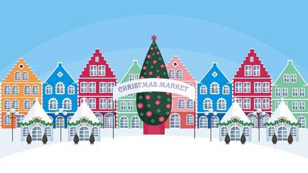 旧市街のクリスマス フェア。ベクトルの背景。 写真素材 - 89026095