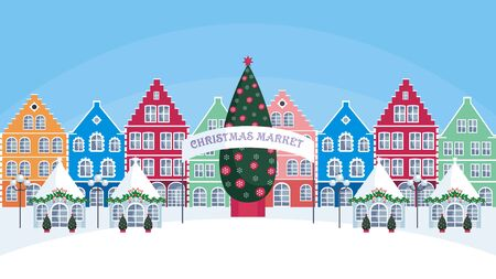 Christmas fair in the old town. Vector background. Ilustração