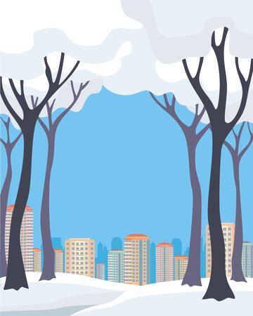 冬都市のイメージ。雪に覆われた木とモダンな建物です。ベクトルの背景。