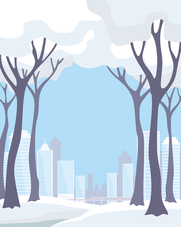 The image of a winter city. Snow-covered trees and modern buildings. Vector background.