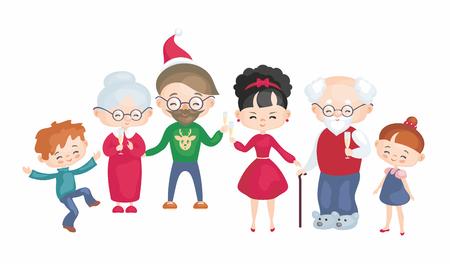 The happy family celebrates Christmas. Vector illustration in cartoon style.