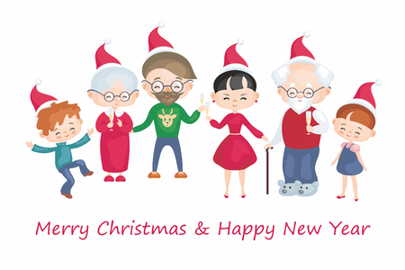 Greeting card with the image of the happy family. Vector illustration in cartoon style.