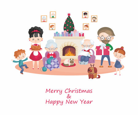Greeting card with the image of the happy family. Vector illustration in cartoon style. Vetores