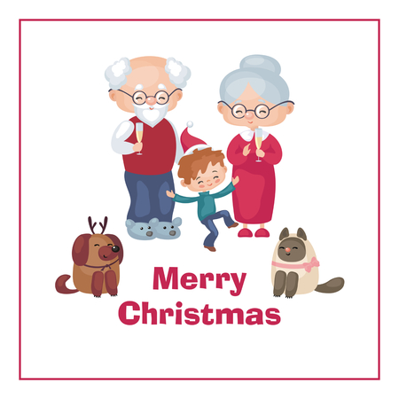 Greeting card with the image of the grandmother, grandfather, and the grandson celebrating christmas vector illustration in cartoon style. Çizim
