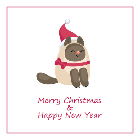 Christmas greeting card with the image of funny cat vector illustration in cartoon style. Ilustração