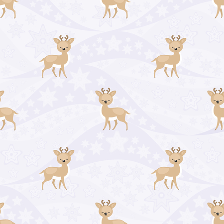 Seamless pattern with the image of reindeers. Vector background Çizim