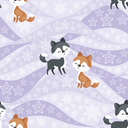 Seamless pattern with the image of the husky dogs. Vector background