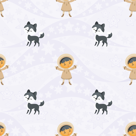 Seamless pattern with the image of the Eskimo people and husky dogs. Vector background