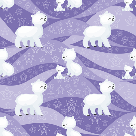 Seamless pattern with the image of the cute polar animals. Vector background. Banco de Imagens - 90041482
