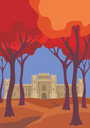 Abstract image of a medieval English castle. Beautiful autumn landscape. Vector background. Illustration